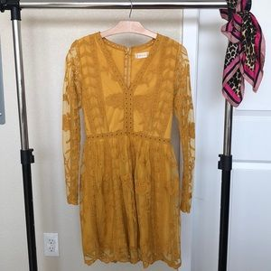Altar'd State Tabatha Yellow Lace Dress